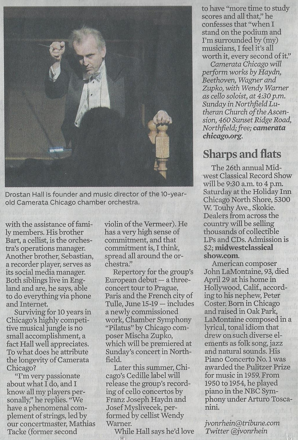 Small Chicago orchestra is thinking big, by John von Rhein, Chicago Tribune, May 15, 2013 (part 2)