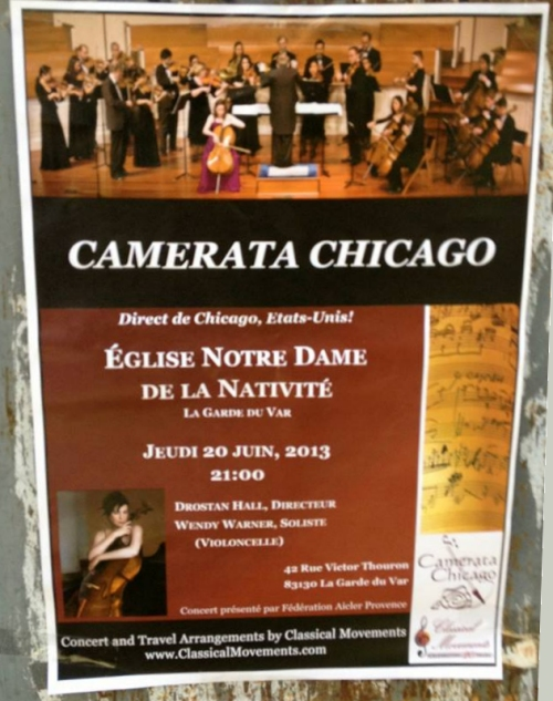 Camerata Chicago poster for concert at Église Notre Dame de La Nativité, La Garde, near Marseille, France on June 20. By Aurelien Petillot.