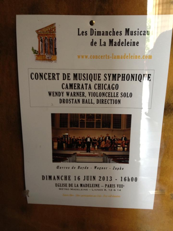 Camerata Chicago's billing on a poster at La Madeleine, Paris. By Aurelien Petillot.