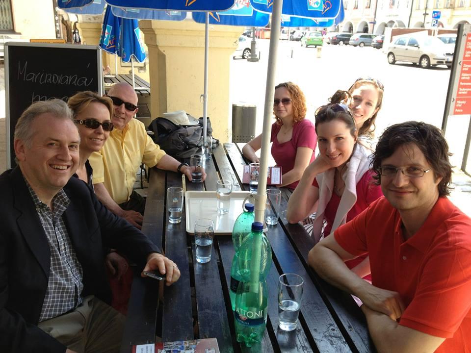 Drostan Hall, Ariane Hall, Jim Scharnell, Laura Smith, Wendy Warner and Mischa Zupko watering in Litomyšl. By Aurelien Petillot