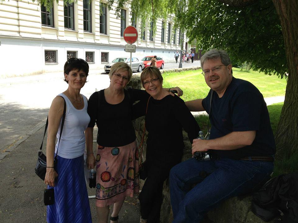 Michèle Lakas, Deborah Stevenson, Susan and Jonathan Saylor in Litomyšl. By Aurelien Petillot