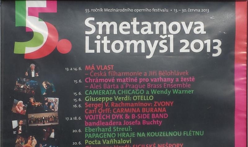Smetanova Litomyšl poster, with Camerata Chicago billing and photo. By Ariane Hall.