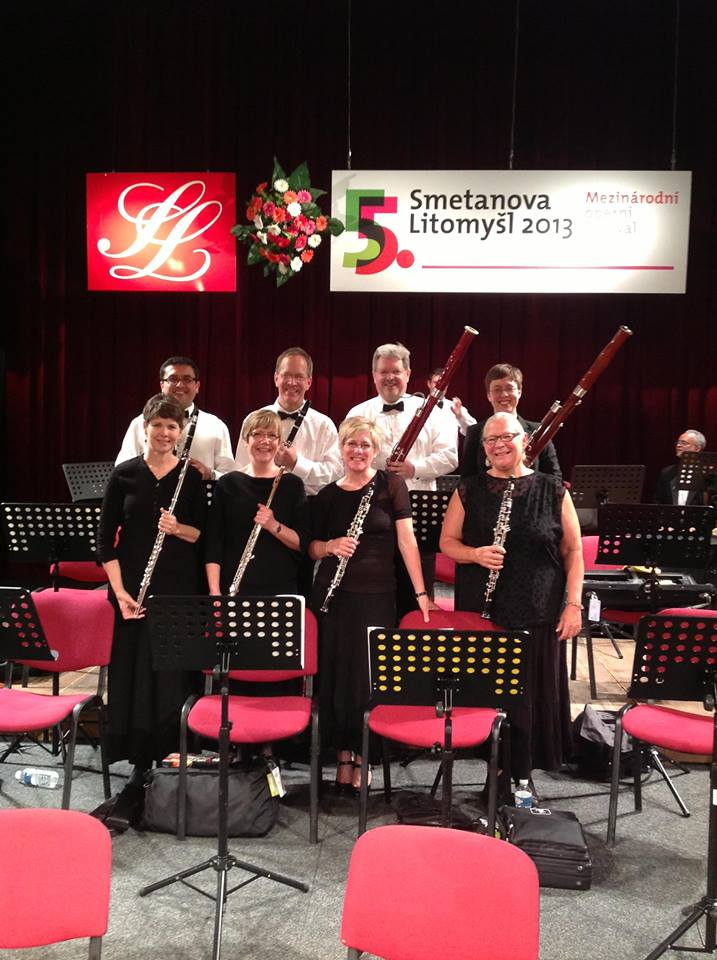 Wind section of Camerata Chicago! Great first concert at Litomysl, Czech — with Joyce Anne Wilder, Elizandro Garcia, Susan Saylor, Michael Wilder, Deborah Stevenson, Jonathan Saylor, Kaethe Durham and Susan Stokdyk. By Susan Saylor.