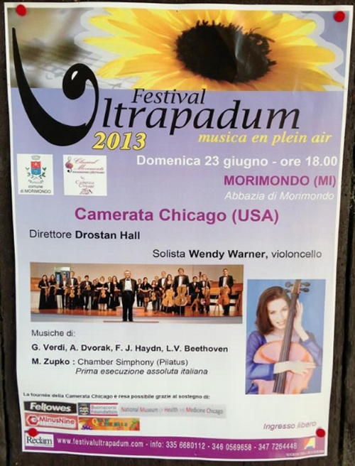 Poster for Festival Ultrapadum Camerata Chicago concert at Abbazia di Morimondo, Milan, Italy on June 23. By Laura Smith
