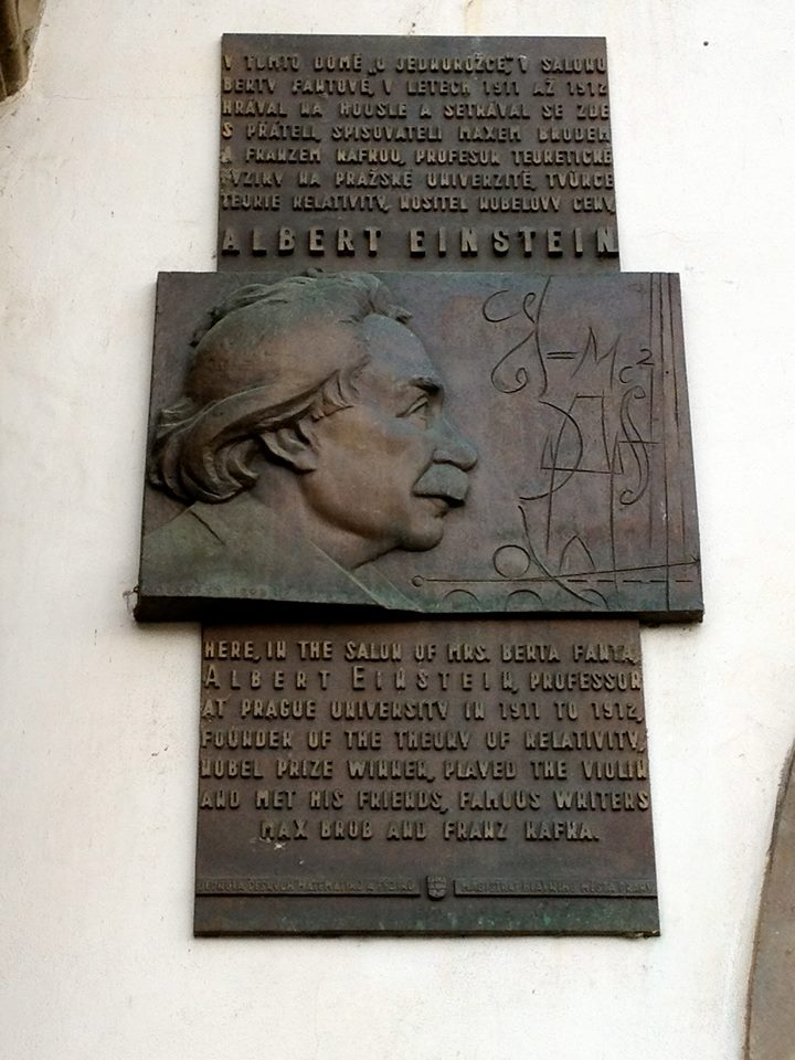 A plaque dedicated to Einstein in Prague. By Aurelien Petillot.
