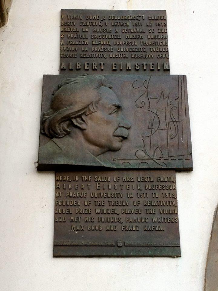 A plaque dedicated to Einstein in Prague. By Aurelien Petillot.